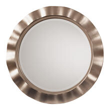 See Details - Cosmos Beveled Wall Mirror With Brushed Silver Round Wavy Frame