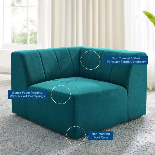 Bartlett Upholstered Fabric Corner Chair in Teal