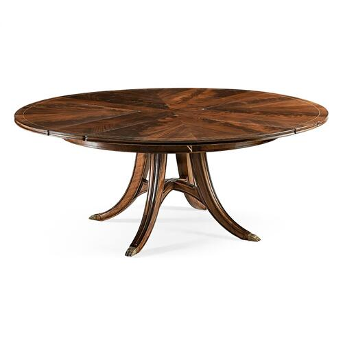 "Mahogany Round 59"" Dining Table with Self-Storing Leaves"