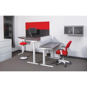 """Office Star - 60""""x24"""" Sit/stand Electric Height-adjustable Table, Slate Grey Top / White Base"""