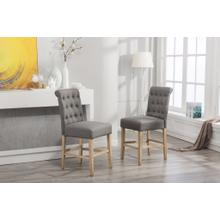 See Details - Siena Counter Height Button Tufted Back Solid Wood Stools, Set of 2, Gray