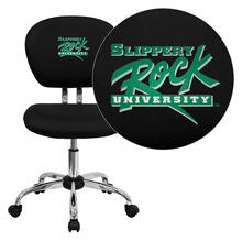 Slippery Rock University Embroidered Black Mesh Task Chair with Chrome Base