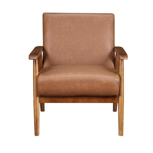 Wood Frame Mid-Century Modern Accent Chair in Cognac Brown