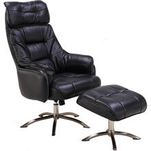 Hanover Parker PU Leather Office Chair with Ottoman in Black, HLC0204