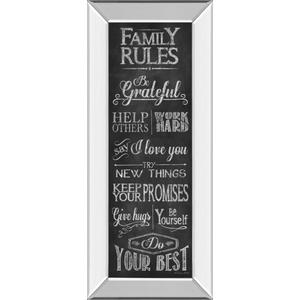 """""""Family Rules"""" By Susan Ball Mirror Framed Print Wall Art"""