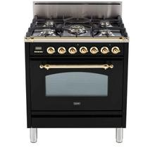 Nostalgie 30 Inch Gas Natural Gas Freestanding Range in Glossy Black with Brass Trim