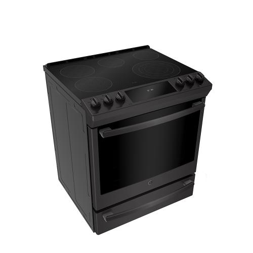 "GE Profile 30"" Electric Slide-In Range with Baking Drawer Black Stainless Steel - PCS940BMTS"