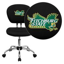 Fitchburg State University Falcons Embroidered Black Mesh Task Chair with Chrome Base
