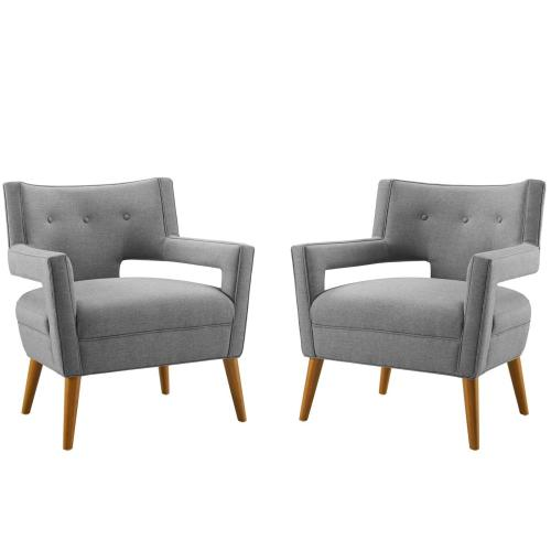 Sheer Upholstered Fabric Armchair Set of 2 in Light Gray