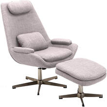 Hanover Westin Mid-Century Modern Scoop Lounge Chair and Ottoman in Taupe, HLC0202