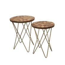 S/2 Metal & Wood Accent Tables, Brown