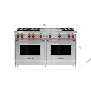 "Wolf60"" Gas Range - 6 Burners and French Top"