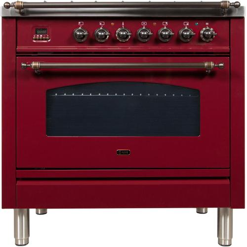 Nostalgie 36 Inch Dual Fuel Liquid Propane Freestanding Range in Burgundy with Bronze Trim