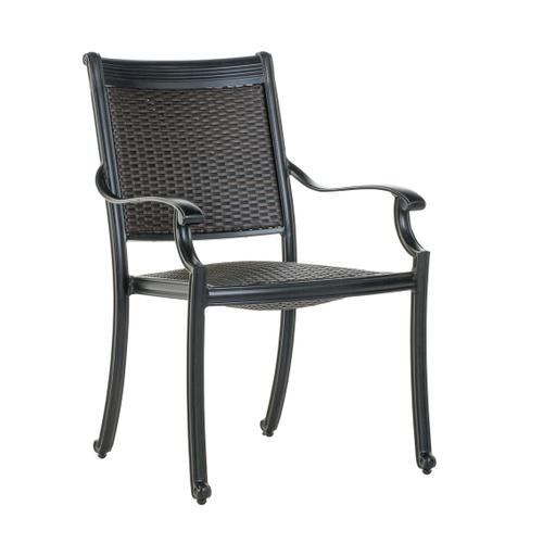 Shetland Wicker Cast Stackable Dining Arm Chair w/ Reticulated Foam