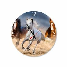 Trio of Galloping Horses Round Square Acrylic Wall Clock