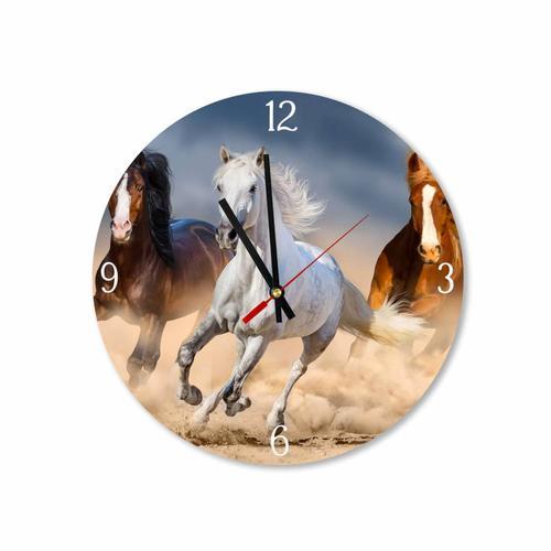 Grako Design - Trio of Galloping Horses Round Square Acrylic Wall Clock