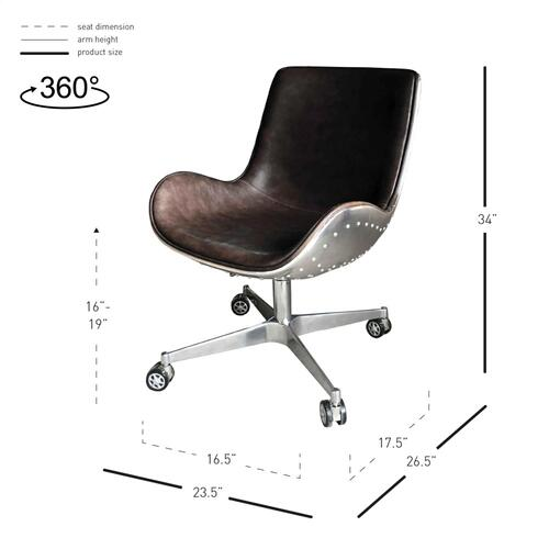 New Pacific Direct - Abner PU Swivel Office Chair Aluminum Frame, Distressed Java