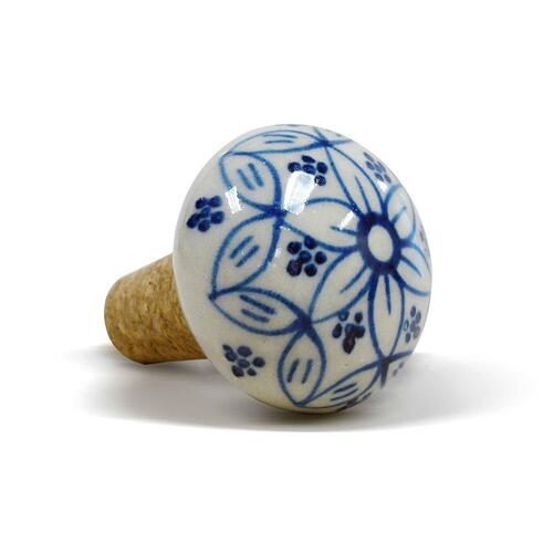 Epicureanist Blue and White Floral Ceramic Bottle Stopper