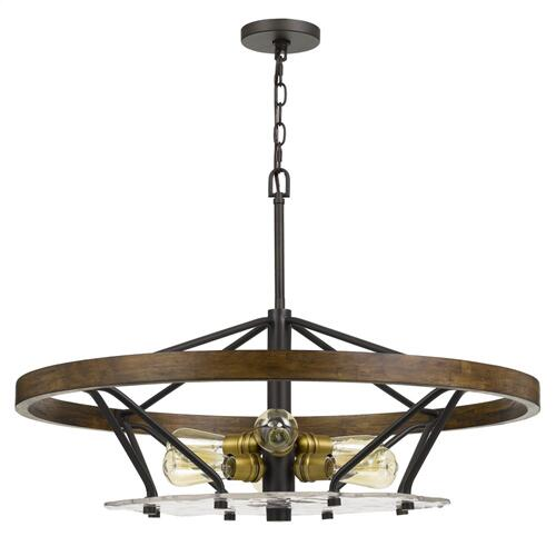 Sherrill Metal/Wood Chandelier (Edison Bulbs Not included)