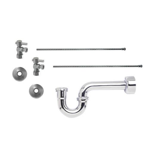 """Mountain Plumbing - Lavatory Supply Kit w/ 1-1/2"""" P-Trap - Angle - Mini Lever Handle with 1/4 Turn Ball Valve - Lead Free - Antique Brass"""