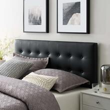 See Details - Emily Queen Upholstered Vinyl Headboard in Black