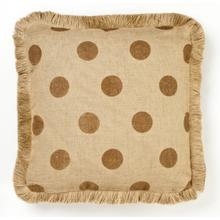 Brown Dot Burlap Pillow