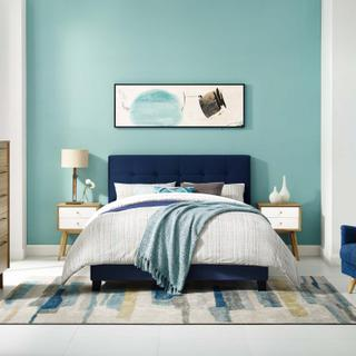Product Image - Amira Queen Performance Velvet Bed in Midnight Blue