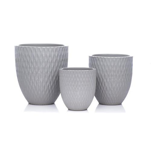 Gray Waffled Planter - Set of 3