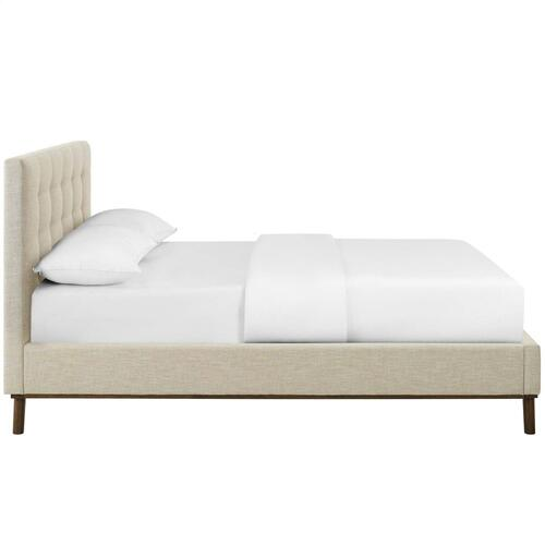 McKenzie Queen Biscuit Tufted Upholstered Fabric Platform Bed in Beige