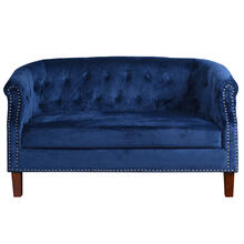 TUFTED NAVY  30ht X 56w X 30d  Fabric Settee Sofa with Inside Tufted Side Arms and Back