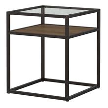 Anthropology Glass Top End Table - Rustic Brown