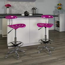 View Product - Vibrant Candy Heart and Chrome Drafting Stool with Tractor Seat