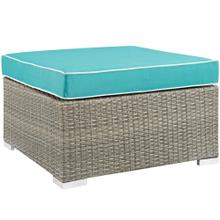 Repose Outdoor Patio Upholstered Fabric Ottoman in Light Gray Turquoise