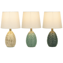 Reactive Glaze Embossed Wave Table Lamp with Bulb. 60W Max. (167804) (4 pc. assortment)