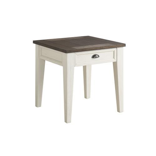 Cayla End Table, Dark Oak/White