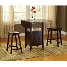 See Details - Wenge Drop Leaf Counter with Stools 3Pc