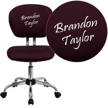 Embroidered Mid-Back Burgundy Mesh Swivel Task Chair with Chrome Base