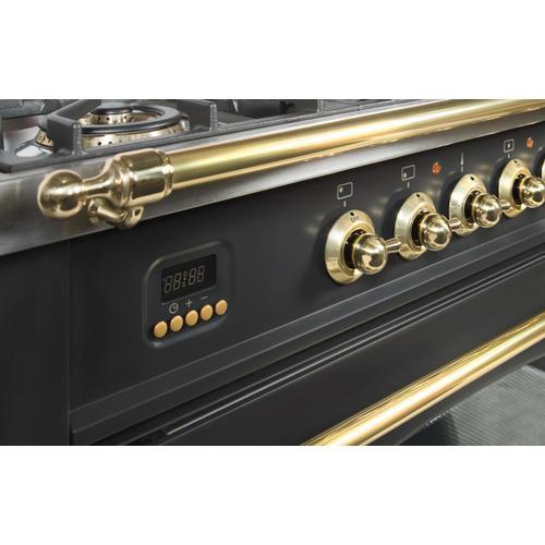 Nostalgie 36 Inch Dual Fuel Liquid Propane Freestanding Range in Matte Graphite with Brass Trim
