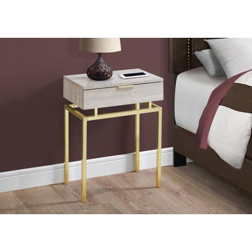 """Gallery - ACCENT TABLE - 24""""H / BEIGE MARBLE / GOLD METAL"""