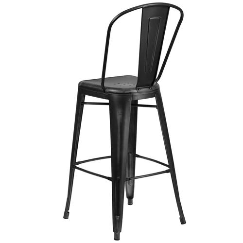 """Commercial Grade 30"""" High Distressed Black Metal Indoor-Outdoor Barstool with Back"""