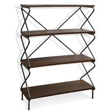 HOURGLASS BOOKSHELF  50in X 35in  Wood and Steel Industrial Bookshelf with Black Metal Legs