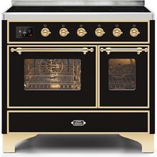 Majestic II 40 Inch Electric Freestanding Range in Glossy Black with Brass Trim