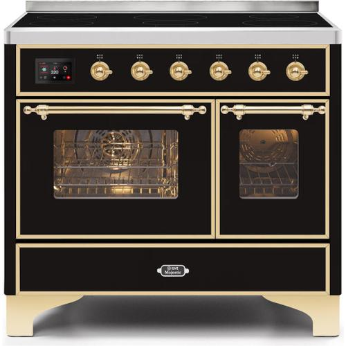 Product Image - Majestic II 40 Inch Electric Freestanding Range in Glossy Black with Brass Trim