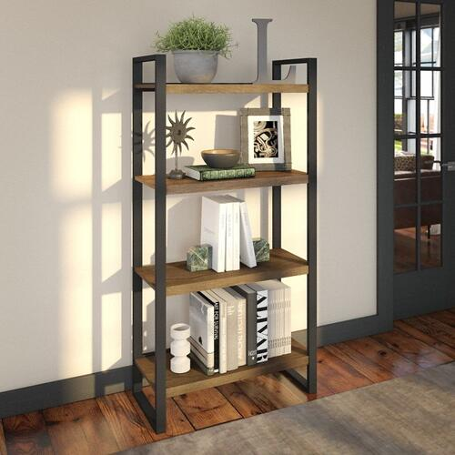 Latitude 4 Shelf Etagere Bookcase - Rustic Brown