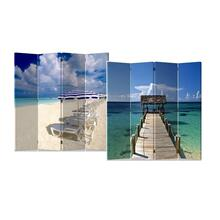 See Details - 4-Panel Double Sided Painted Canvas Room Divider Screen, Caribbean Sea and Beach