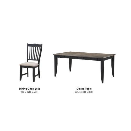 Buchanan 5 Piece Dining Set, Classic Black 1148-dining-5pc-k