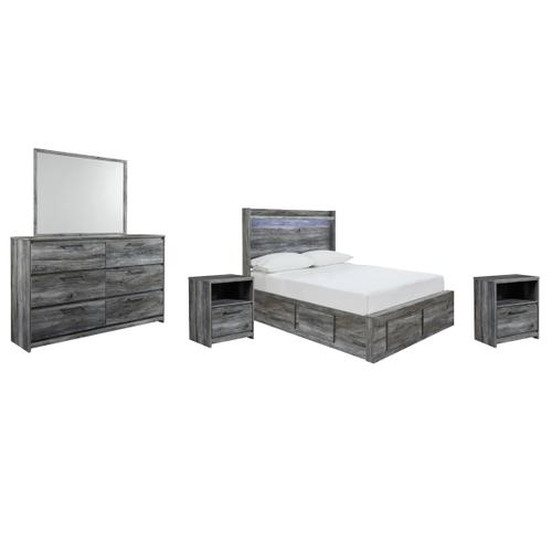 Full Panel Bed With 4 Storage Drawers With Mirrored Dresser and 2 Nightstands