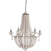 "Phillum (29""x37"") Silver Metal Chassis and White Wood Beaded Six Bulb Chandelier"