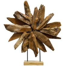 See Details - SUNRISE  24in X 27in  Rustic Decorative Accessory in Natural Teak Wood  Made in India