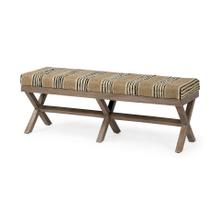 Solis 50L x 16W Brown Base Upholstered Beige/Black Stripe Seat Accent Bench